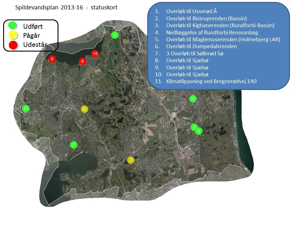 Statuskort for spildevandsplan 2013-2016 viser status for de forskellige indsatser mod overløb i kommunen: Hvilke er håndteret, hvilke er i gang, og hvilke udestår
