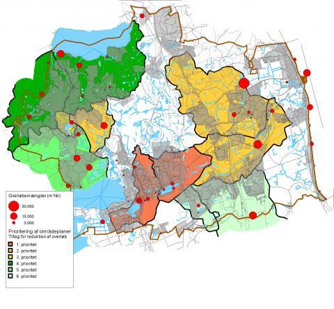 Figuren viser forskellige overløbsmængder - vandmængder pr. år - som afledes fra fælleskloakken til områder i Rudersdal Kommune. Mængderne er opdelt i henholdsvis 30.000, 15.000 og 3.000 m3 pr. år